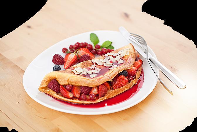 omlet w wersji na słodko i z owocami