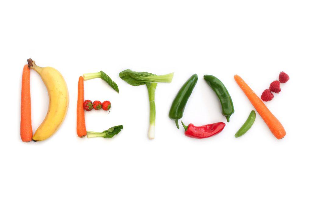 napis detox wykonany z owoców i warzyw